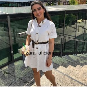 Zara Unbelted Embroidered Dress in Ivory 0881/103
